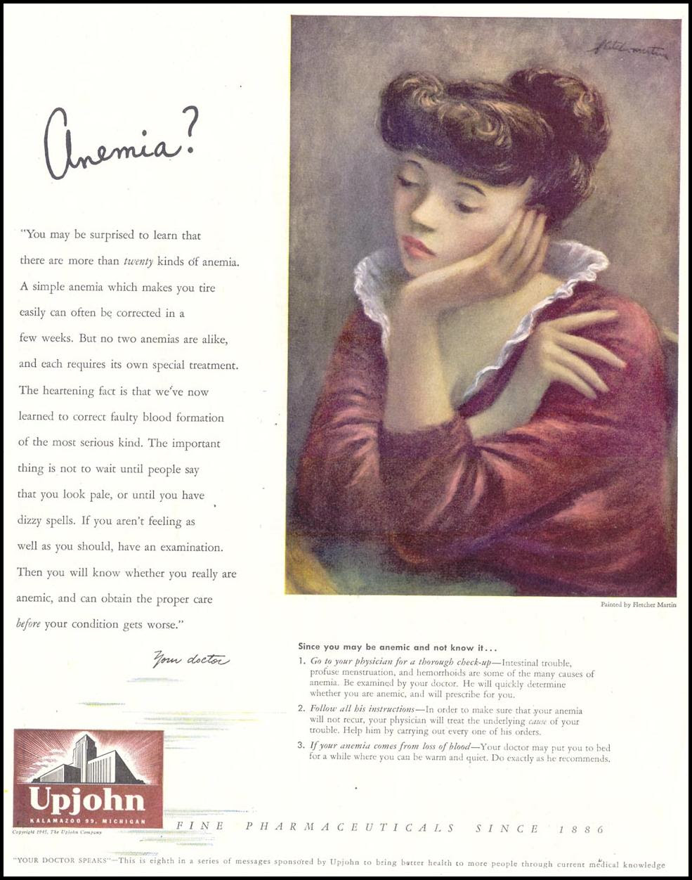UPJOHN PHARMACEUTICALS SATURDAY EVENING POST 10/06/1945 p. 99