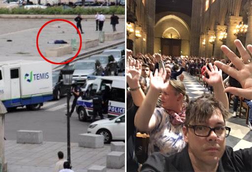 Nel cerchio rosso l'aggressore  a terra; a destra turisti dentro Notre Dame con le mani alzate