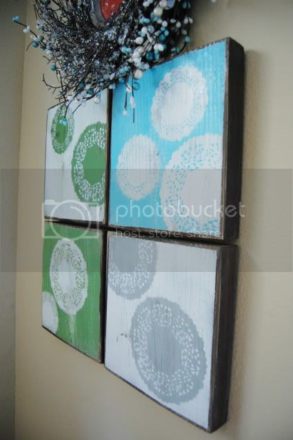 Trey and Lucy: doily wall art/a wreath around the clock