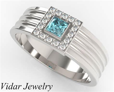 Men's Princess Cut Aquamarine Wedding band   Vidar Jewelry