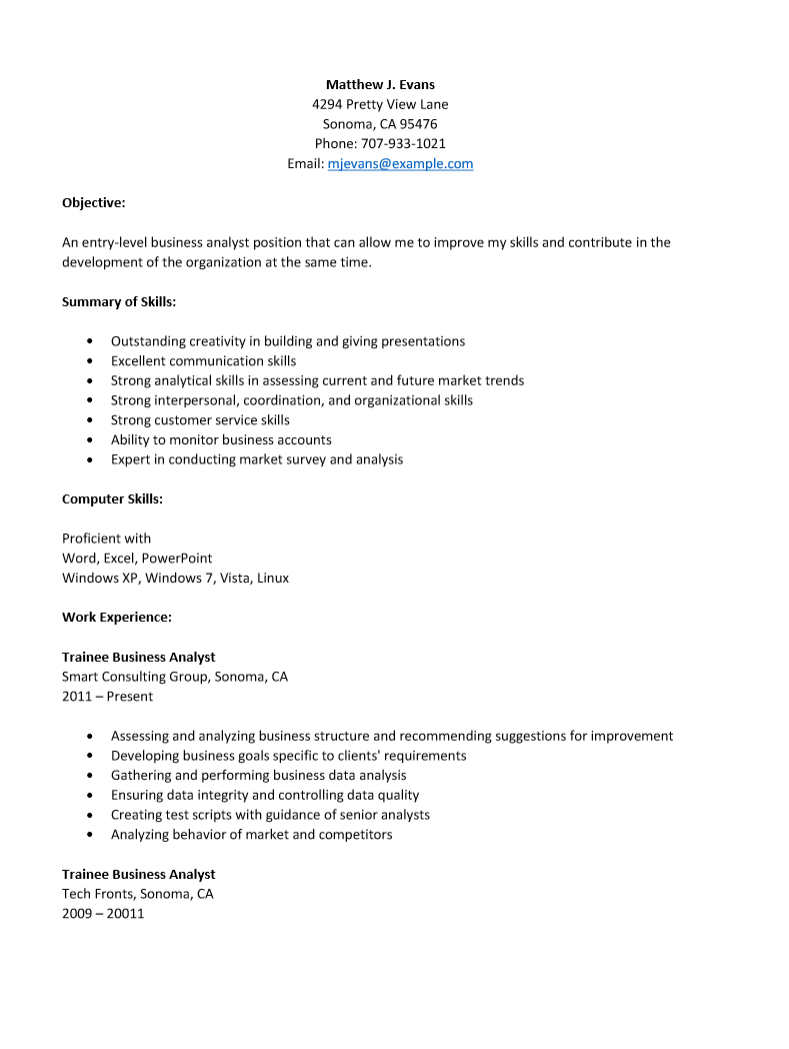 business analyst resume sample doc  hq template documents