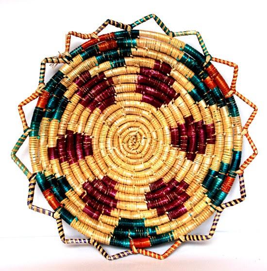 Buğday Sapı Sepet Duvar Süsü Geometrik Desen Koleksiyonlar