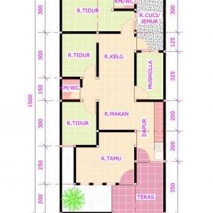 gambar denah rumah 3 kamar ukuran 6x12 - aristek sederhana