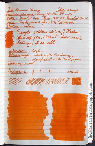 Diamine Orange ink review on Staples journal