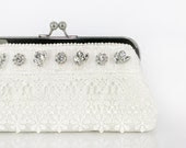 Bridal Clutch with Ivory Schiffli Lace and Rhinestones 8-inch