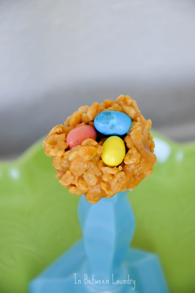 peanut butter rice krispy nests for easter