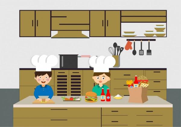 Memasak Gambar Koki Menyiapkan Makanan Cepat Saji Alat
