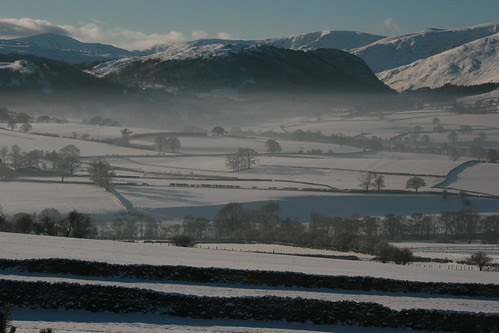 Snowy view to Haweswater and High Street