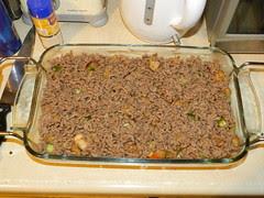 Spaghetti dish - layer of beef mince