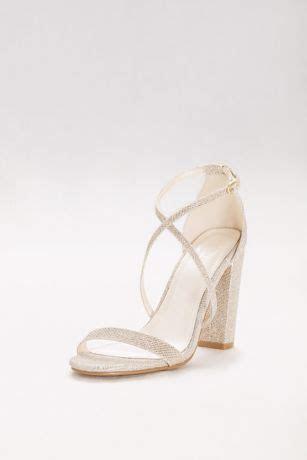 Crisscross Strap Block Heel Sandals   David's Bridal