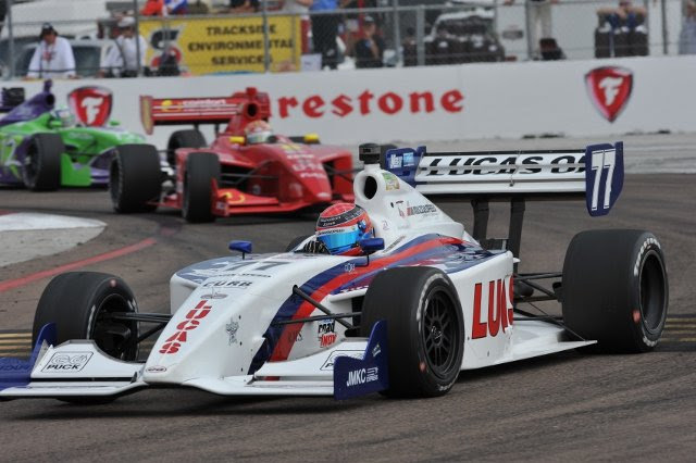 Jack Hawksworth has got his bid to make it back-to-back title successes in America off to the perfect start with victory on his debut in the 2013 Firestone Indy Lights...