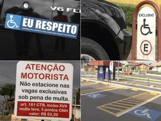 Adesivo em carro e placas indicam respeito e preferência às pessoas com deficiência (Foto: Reprodução/RPC TV)