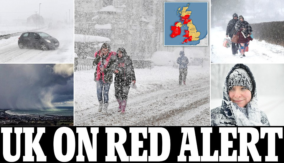 UK Weather: England is put on snow red alert
