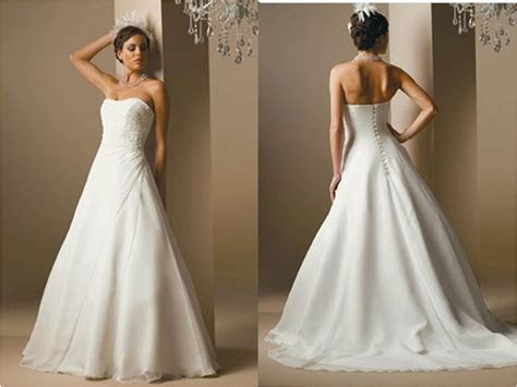 Strapless a line wedding dresses in chiffon over satin.