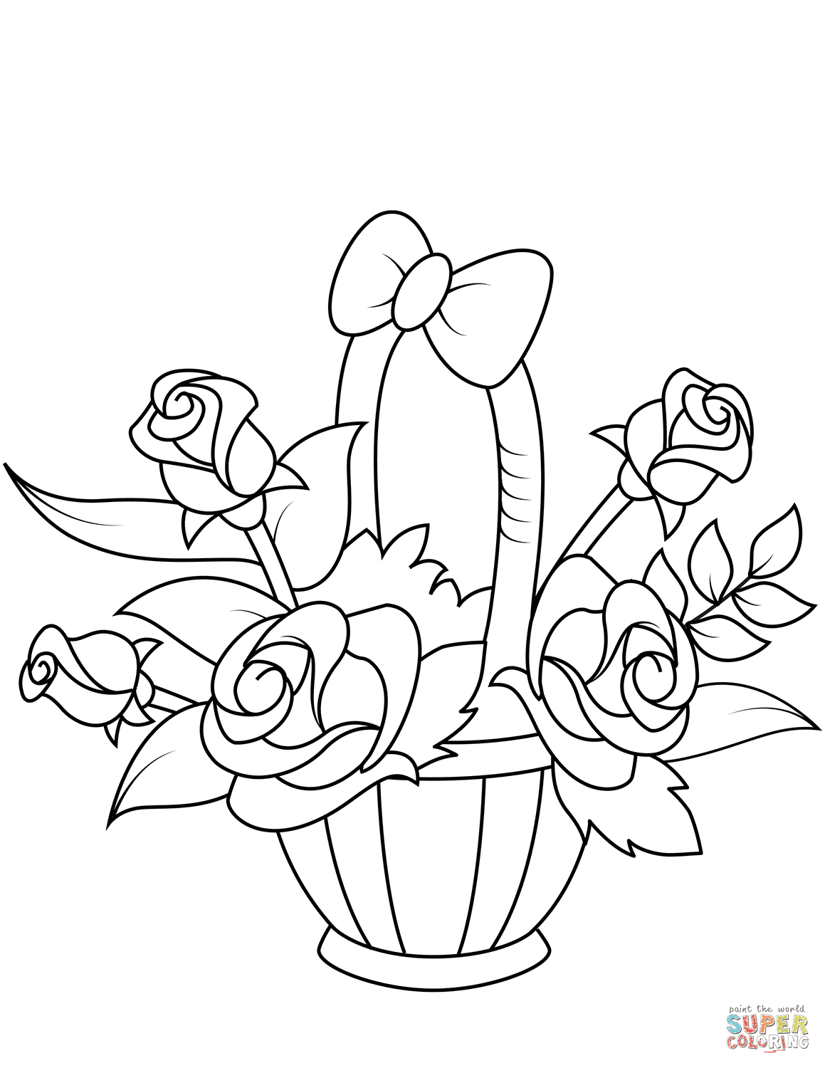 Basket With Roses Coloring Page Free Printable Coloring Pages