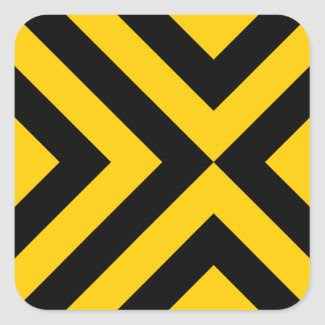 Yellow and Black Chevrons Square Sticker