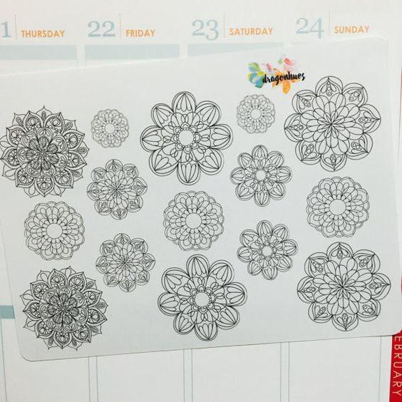 B9 Adult Coloring Planner Stickers for Erin Condren, Day Designer ...
