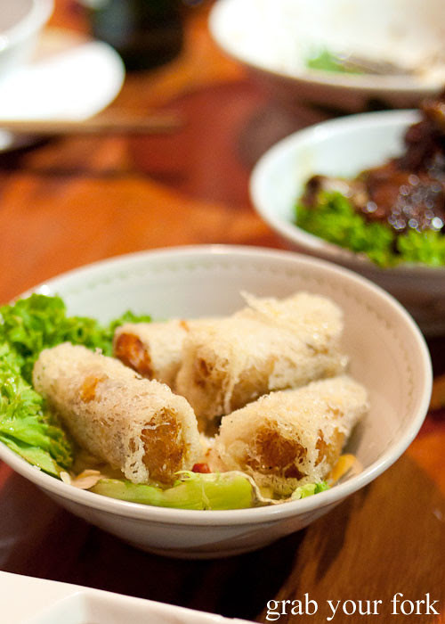crispy seafood spring rolls at old town hong kong cuisine haymarket chinatown sydney