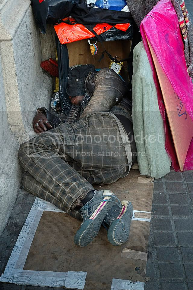 Homeless in Barcelona, Spain [enlarge]