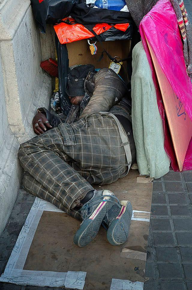 Homeless in Barcelona, Spain [enlarge]