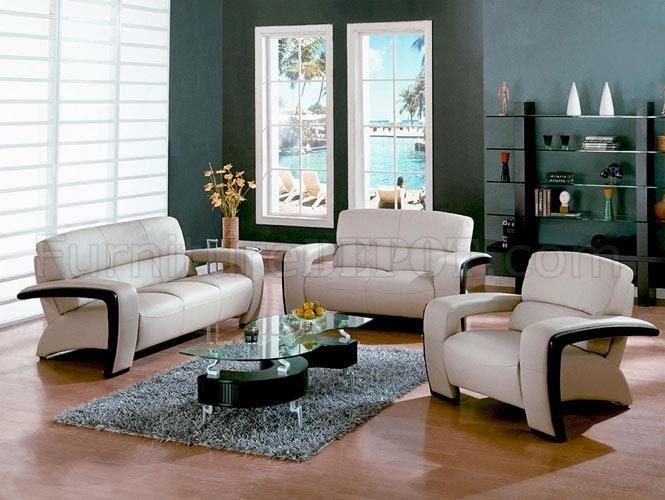 Sydney DM-1004 Beige Leather Living Room Set w/Espresso ...