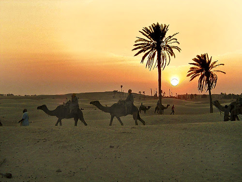sunrise- at the edge of Sahara desert in Tunesia