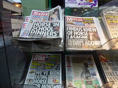 Horse meat scandal dominating the front pages