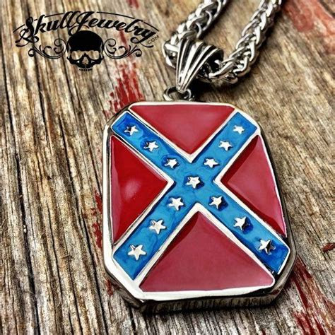 heritage  hate steel confederate flag pendant