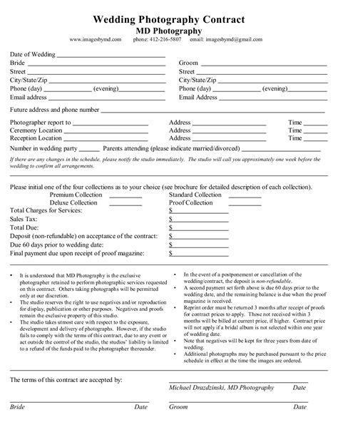 photogapher contract   Sample Wedding Photography Contract