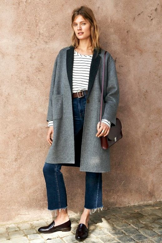 Le Fashion Blog Fall Street Style Grey Coat Striped Tee Satchel Frayed High Rise Jeans Loafers Via Madewell