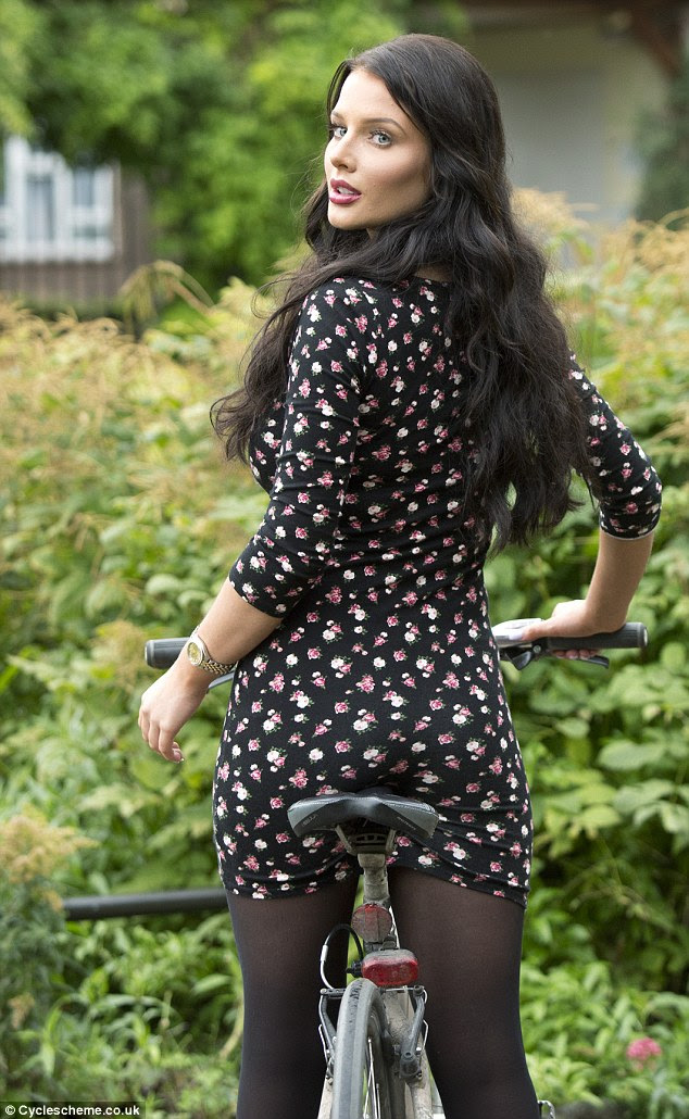 Cycle to Work: Helen Flanagan ditched her car for two wheels, cycling to a photo shoot in London on Thursday