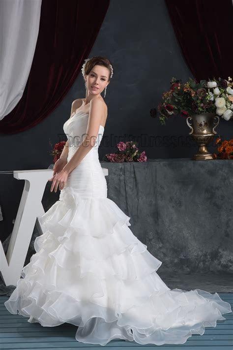 Trumpet/Mermaid Strapless Ruffles Lace Up Wedding Dresses