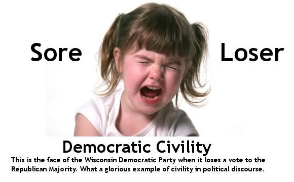 Wisconsin Democrats throw a temper tantrum when they lose a vote on the budget in the Wisconsin General Assembly