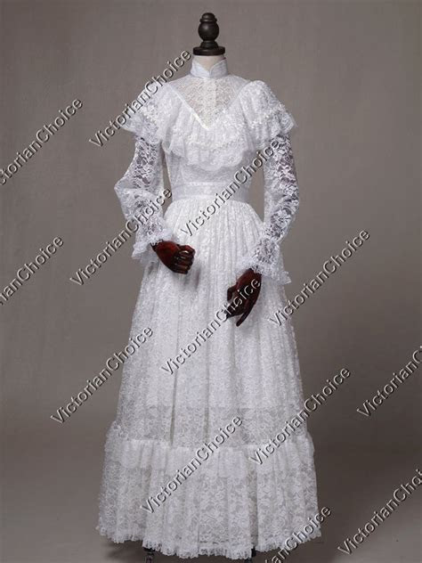 white edwardian victorian vintage ghost wedding gown dress