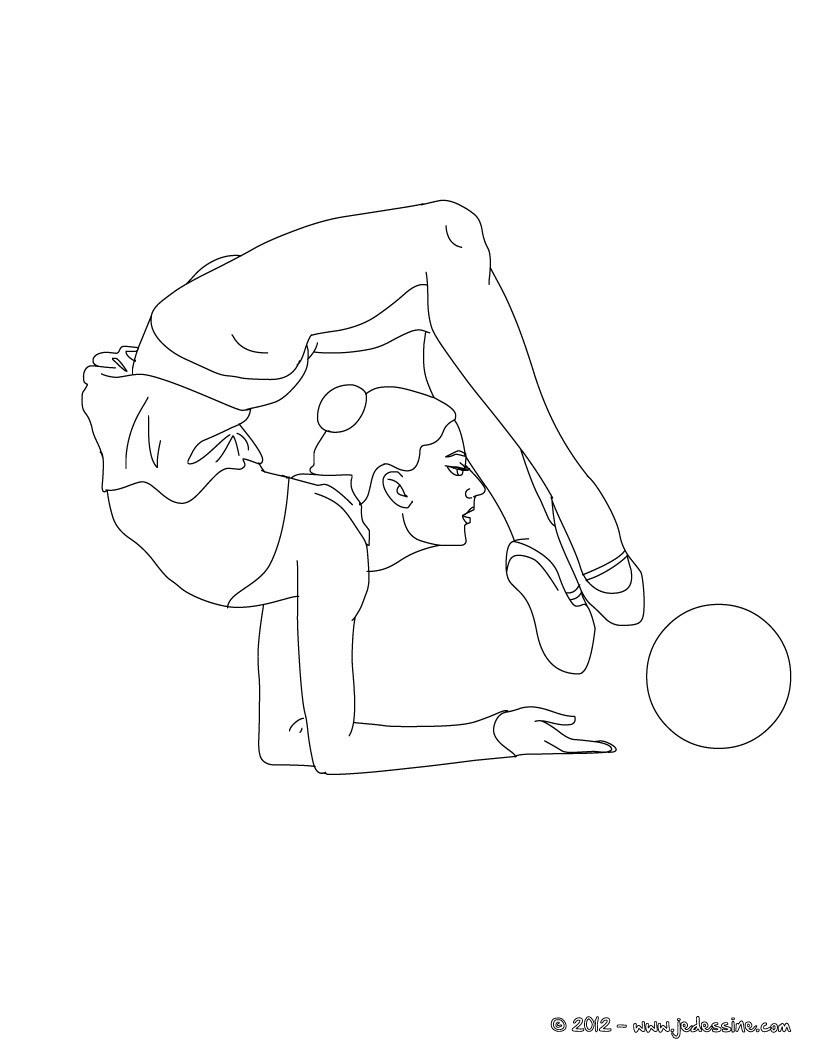 Coloriage d une GYMNASTE AU BALLON en équilibre sur les avant bras