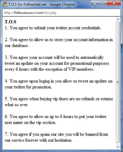 Free Follower Scam conditions