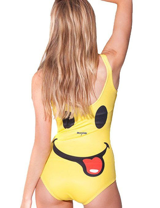 Adogril Yellow Smiley Tongue Romper Swimwear at Amazon Women's Clothing store