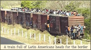 A train full of Latin Americans heads for the border