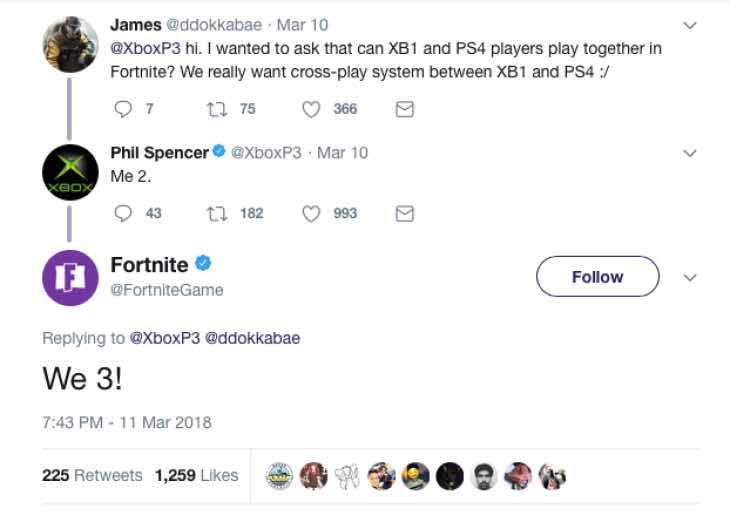 Fortnite Ps4 Xbox One Cross Play Is Down To Sony Product Reviews Net - now microsoft has made it crystal clear that they have no problems on their side as you can see from the tweet below