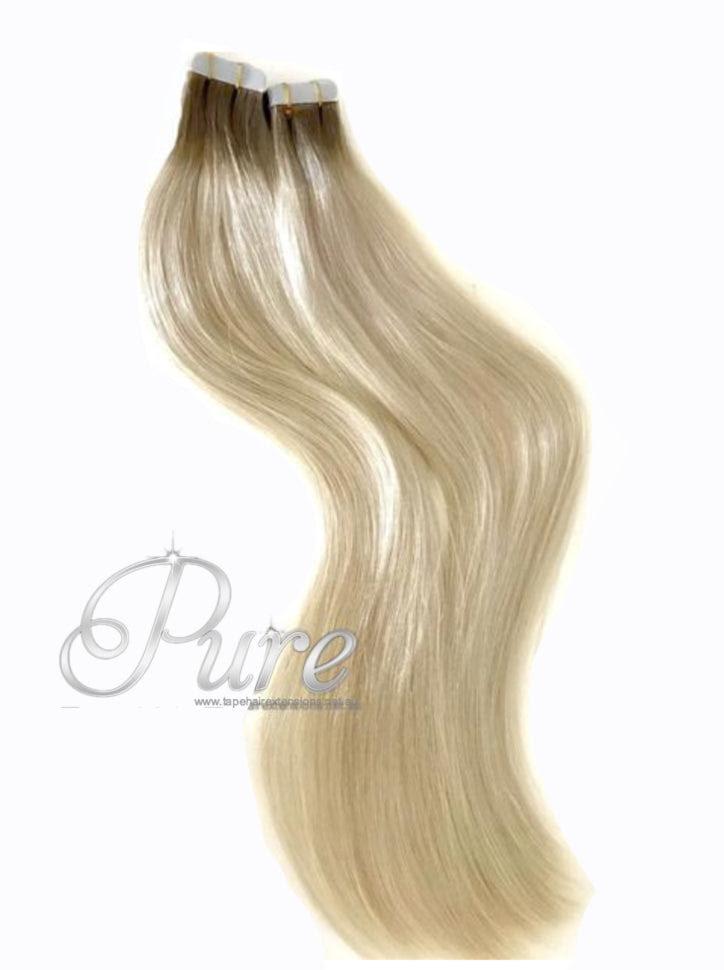 460613 Dark Brown To Platinum Blonde Short Root Fade Tape