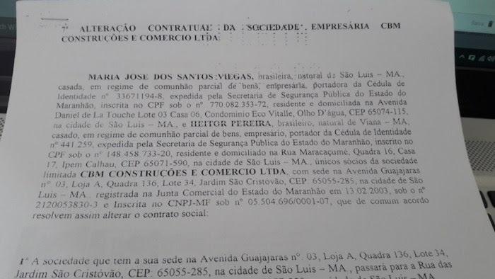 Alteração contratual da sociedade da CBM