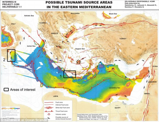 The researchers studied the impact of an earthquake along the boundary between the African and Eursian plates that run under the Mediterranean Sea. They focused on quakes off the coast of Crete and Sicily, as can be seen in the map above, which shows the boundary of the plates