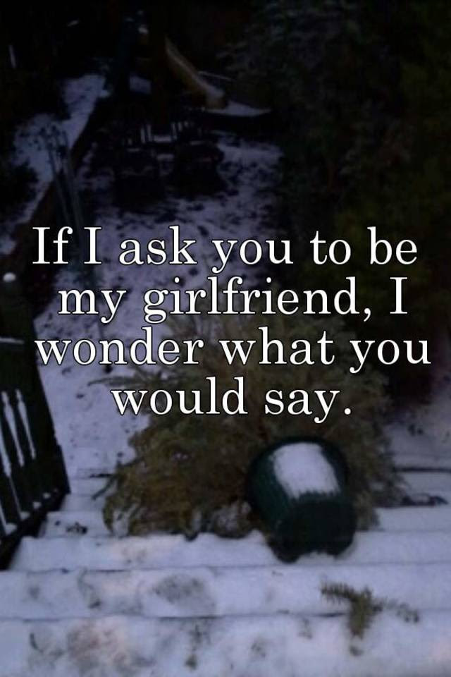 If I Ask You To Be My Girlfriend I Wonder What You Would Say