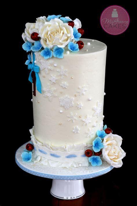 Copper & Blue Snowflake Wedding   CakeCentral.com