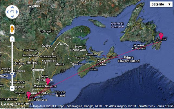 map of flight from Boston to St. John's, NL  courtesy of Daft Logic