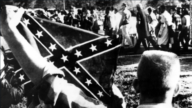 "Dixiecrats resurfaced the ""Southern Cross"" flag as a political symbol around the time President Harry Truman supported efforts to end lynchings and desegregate the military in 1948. During that same period, the Ku Klux Klan began using the flag more widely."