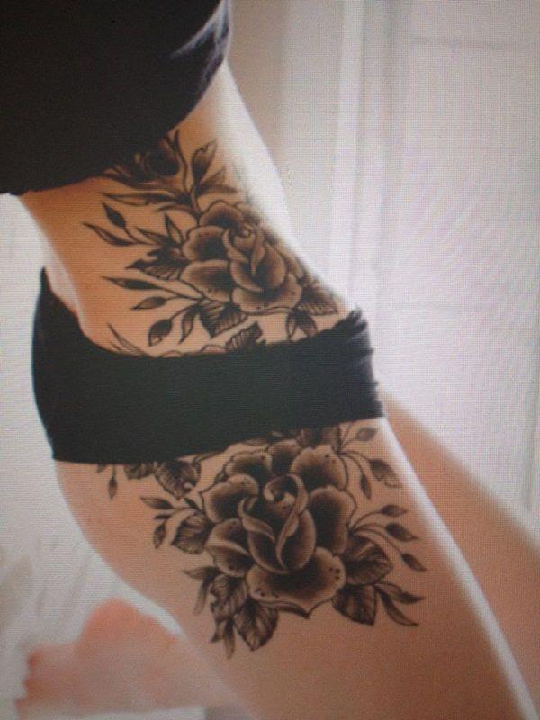 Black Roses Girl Tattoo On Hip Tattoomagz