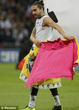 Matador: Chico Flores celebrates, despite missing the game, before being taken down by Routledge