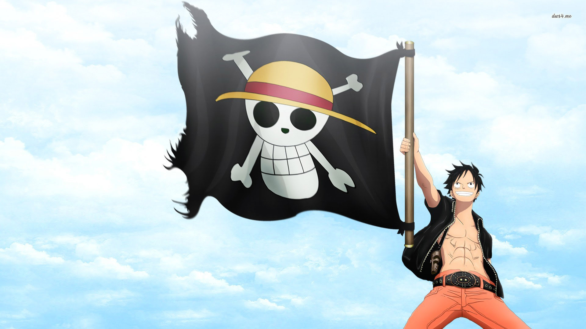One Piece Luffy Jolly Roger Anime Top Wallpaper