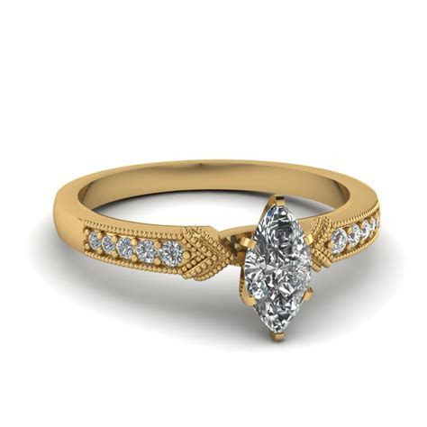 Antique Pave Marquise Diamond Engagement Ring In 14K